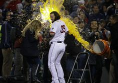 Watch: Erin Andrews-Jarrod Saltalamacchia interview gets interrupted by Gatorade shower courtesy Boston Red Sox OF Shane Victorino