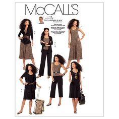 Misses' Jackets, Top, Dresses and Pants In 2 Lengths-FF (16-18-20-22) Pattern, M5890