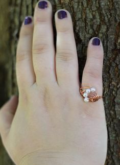 Ring  Wire Wrapped  Copper  White Glass Pearl par kjberry sur Etsy, $15,00