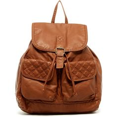 T-Shirt & Jeans Quilted Back Backpack ($30) ❤ liked on Polyvore featuring bags, backpacks, cognac, rucksack bag, quilted backpack, quilted flap bag, brown bag and pocket bag