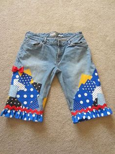 Donald Duck inspired denim capris  www.facebook.com/serendipidboutique