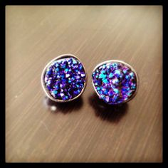 Your place to buy and sell all things handmade Agate Stone, Iridescent, Purple, Blue, Studs, Stud Earrings, Frame, Gifts, Closet