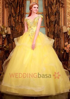 Fresh Color Off the Shoulder Ball Gown Princess Yellow Wedding Dress