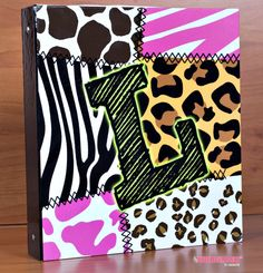 Three Ring Girls Animal Print Leopard Cheetah Zebra Stripe for School Organizer Office Homework Old School, School Stuff, Three Rings, Monogram Frame, Ring Binder, School Organization, Vinyl Designs, Zebra Print, Girl Stuff