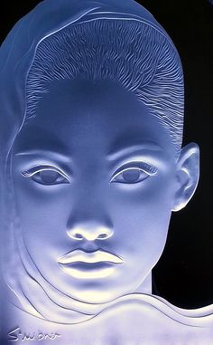 """portrait of """"a beautiful face"""" sandblast engraved starphire crystal by Stuebner Glass Design 10x18 illuminated by LED"""