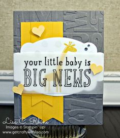 Get Crafty with Lisa: Little Baby = Big News! This baby card features Stampin' Up!'s Zoo Babies and Big News Stamp Sets, by Lisa Rhine, www.getcraftywithlisa.com