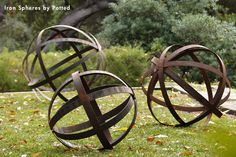 Iron Spheres for garden decor by Potted