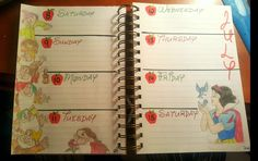 Snow White and the Seven Dwarves bullet journal weekly spread #disney #bulletjournal #weekly
