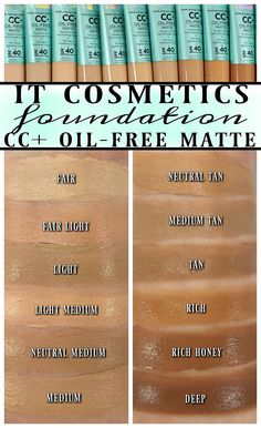 Every IT Cosmetics CC+ Oil-Free Matte Foundation Swatched Foundation Tips, It Cosmetics Foundation, Makeup Foundation, Powder Foundation, It Cosmetics Cc Cream Swatches, Makeup Swatches, Oil Free Concealer, Under Eye Concealer, Beauty Killer