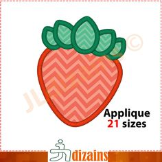 Strawberry applique design. Machine embroidery design INSTANT DOWNLOAD 21 sizes. Strawberry embroidery design. BX by JLdizains on Etsy