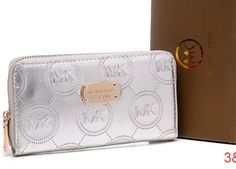 New Michael Kors Wallet Silver Patent Gold Hardware