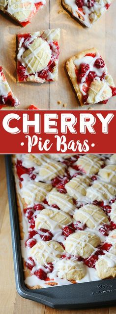 Cherry Kuchen Bars Recipe - Cherry Pie Bars - - Looking for a dessert that's easy to make but looks impressive? These gorgeous cherry pie bars are the ticket! Cherry Desserts, Cherry Recipes, Mini Desserts, Fruit Recipes, Easy Desserts, Cherry Pie Filling Desserts, Cherry Pie Cupcakes, Fast Dessert Recipes, Pie Recipes