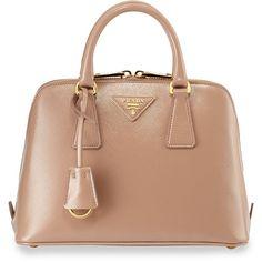 Prada Saffiano Vernice Mini Promenade Bag ($1,850) ❤ liked on Polyvore featuring bags, handbags, shoulder bags, blush, mini key ring, genuine leather handbags, leather purse, prada purses and leather shoulder handbags