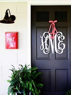 Decoration, Froont Door Black Colors Monogram Font Red Ribbon Red Box Post Wall Lamp White Paint Wall: Decoration Of Front Door Monogram Letters For Beautiful Front Door In Chrismast Decor, Door Decorations, Front Door Monogram, White Decor, Redecorating, Beautiful Front Doors, Sweet Home, House Warming, Diy Letters