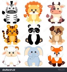 Cute cartoon baby animals. Dog, cow, lion, sheep, tiger, panda, fox, zebra, elephant