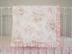 Vintage Shabby Chic Roses Floral Pink on Antique Cream / Ivory