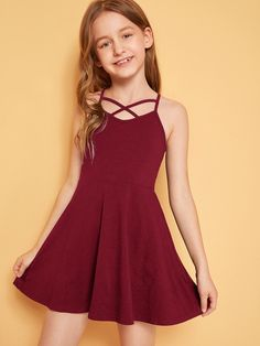 To find out about the Girls Crisscross Front Slip Flare Dress at SHEIN, part of our latest Girls Dresses ready to shop online today! Girls Fashion Clothes, Kids Outfits Girls, Cute Girl Outfits, Tween Fashion, Girl Fashion, Fashion Dresses, Girls Dresses Tween, Kids Clothing, Cute Dresses