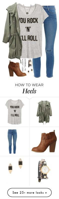 """I don't know how the universe created something as amazing as you."" by kaley-ii on Polyvore featuring Frame Denim, H&M, Charlotte Russe, La Mer, Carolyn Colby and Kendra Scott"