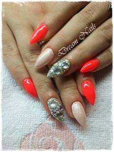 Coral spell Summer pointed nails, decorated with strass