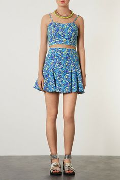 Floral Piped Crop Top and Hip Skater Skirt - Suits and Co-ords - Clothing - Topshop USA Matching Top And Skirt, Pretty Outfits, Editorial Fashion, What To Wear, Fashion Beauty, Topshop, Crop Tops, Summer Dresses, My Style