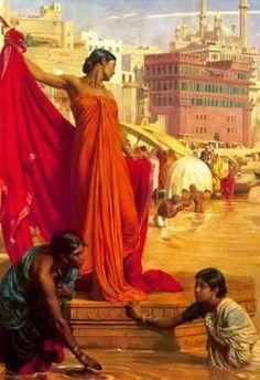 Bathing in the Ganges, Valentine Cameron Prinsep,painting