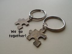 Puzzle Pieces Couple Keychain Set, Key Ring Gift, Key Chain, Husband and Wife, Girlfriend and Boyfriend, You go together!, Initial, Valentines Day Gift Ideas, Cards