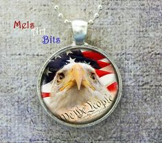 American Flag Eagle Photo Pendant Neckace Jewelry Unisex, Military Patriotic Stars and Stripes, We the People Constitution, Red White Blue