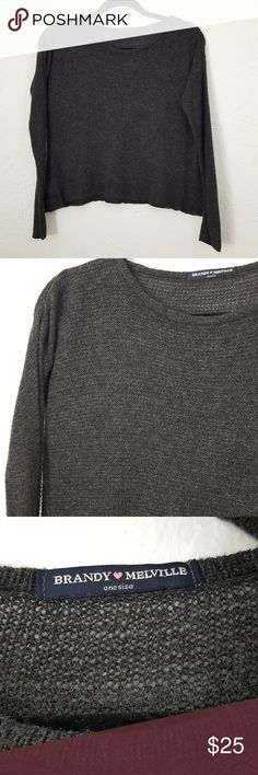 Brandy Melville Boxy Cropped Sweater Gray Item Condition: Very Good! It is a boxy crop sweater. Scoop Neck. Sides seem to be longer. Review pictures. Tag says one size It looks small, but has a lot of stretch.  Measurements:  Chest (armpit to armpit laying flat) = 25 inches unstretched, 31 inches stretched  Length (top middle of shoulder to bottom hem laying flat)=21  inches   Thank you so much for considering this item for purchase.  All of your purchases go toward my son's college fund…