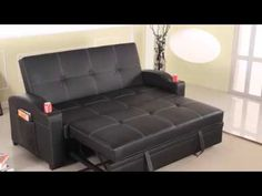 Versatile Furniture Piece It's a transformer! This sofa can transform into a recliner and then into a bed. This classy black PU leather Sofa bed is not only a great place to sit but, thanks to the Klik-Klak bed-flattening system, is also a great Black Leather Sofa Bed, Sofa Bed Black, Pu Leather, Living Furniture, Sofa Furniture, Furniture Stores, Pull Out Sofa Bed, Sleeper Sofa, Sofa Sofa