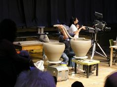 Coil pots, Svend Bayer in action, Jenny Lewis Pottery
