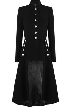 Alexander McQueenCutout Wool Coat -   Alexander McQueen's black coat is cut for a slim fit, so it works best with lightweight layers. This structured design has a stand collar and padded shoulders for a smart silhouette. Emphasize the cutout front by teaming this military-inspired piece with skinny pants.