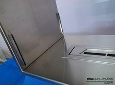 Insert con quemador de bioetanol en acero inoxidable con acabado de calidad premium para encastrar en pared. Proyecto de chimenea de bioetanol a medida by Shioconcept