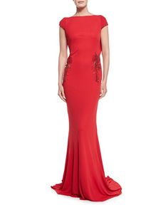 Cap-Sleeve Beaded Waist Tie-Back Gown  by Badgley Mischka at Neiman Marcus.