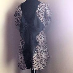 Bow Accent Leopard Chiffon Blouse - $25