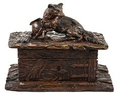 Antique Hand Carved Black Forest Animalier Movement Jewelry Box, Casket, Chest - a Fox or Dog - Antique Hand Carved Black Forest Animalier Movement Jewelry Box, Casket, Chest - a Fox or Dog