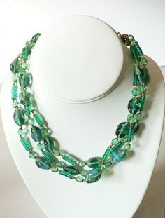 Miriam Haskell Blue Green Glass Bead Necklace from jamiesantiques on Ruby Lane