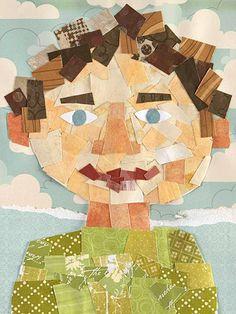 De leerlingen zoeken allerlei materiaal in verschillende kleuren (papier, postzegels...). Met dit materiaal maken ze een zelfportret.