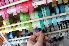 Need ideas on how to store it all? Here are clever ideas for Washi Tape storage! Loads of DIY solutions to organize your washi tape. Washi Tape Storage, Washi Tape Crafts, Washi Tapes, Craft Room Storage, Craft Organization, Storage Ideas, Craft Rooms, Diy Organizer, Project Life