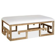 Check out this item at One Kings Lane! Lila Linen Cocktail Ottoman, White