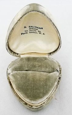 Antique Heart Shaped Velvet Ring Box -Advertising Saltman Jeweler Perth Amboy NJ #SSaltman #RingBox