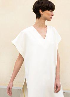 b692bc75c5f7 Chevron Trim White Kaftan Dress – The Frankie Shop Yellow Stripes