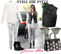 """""""Steal Her Style: Jessica Alba"""" by flojodiscoclub ❤ liked on Polyvore"""