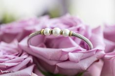 wedding day pearl bracelet in pink roses