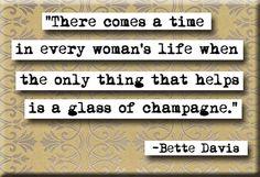 Bette Davis and champagne