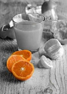 spot color: the orange lets the viewer know what kind of juice it is. and i like it because the orange looks almost artificial because its the only color.