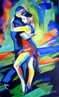 Colorful Painting - Tango by Helena Wierzbicki Romantic Art, Tango Art, Dance Paintings, Art Painting, Female Art Painting, Dancer Painting, Art Theme, Dance Art, Pop Art