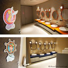Oceaneer Club and Lab bathrooms aboard the Disney Dream. MouseTalesTravel.com #MTT #DCL #disneycruise #disneydream