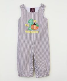 Another great find on #zulily! Brown Stripe 'My 1st Thanksgiving' Overalls - Infant #zulilyfinds