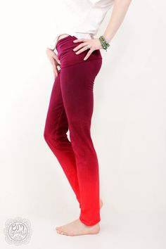 Red Wine Yoga Leggings Pants Hand Ombre by OmBeautiful on Etsy, $55.00