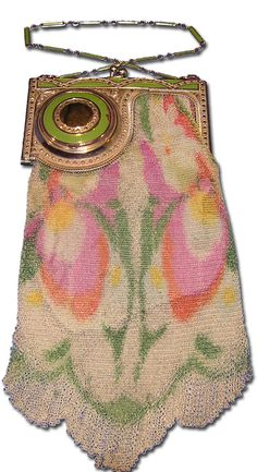 Whiting & Davis corner compact Dresden mesh purse with a stylized floral design on the mesh, marcasites decorating the enameled frame, and a powder compact with a metal mirror built into the corner of the frame, 4 x 8 ¼. Vintage Purses, Vintage Bags, Vintage Handbags, Beaded Purses, Beaded Bags, Silver Purses, Vintage Accessories, Evening Bags, Purses And Handbags